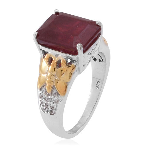 African Ruby (Oct 9.30 Ct), Natural White Cambodian Zircon Ring in Rhodium and Yellow Gold Overlay Sterling Silver 9.550 Ct.