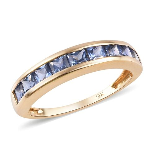 1.50 Ct AA Ceylon Sapphire Half Eternity Band Ring in 9K Yellow Gold