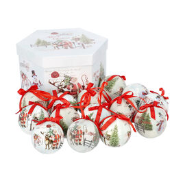 Set of 14 Christmas Decoration Santa, Snowman and Elk Scene Pattern Balls with Ribbon in Gift Box