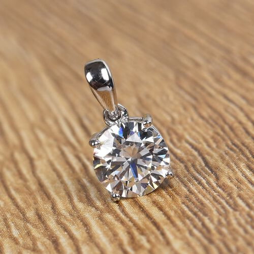 J Francis - Platinum Overlay Sterling Silver Pendant Made with SWAROVSKI ZIRCONIA 2.29 Ct.