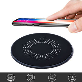 15W Wireless Fast Charging Pad with Powered by USB Type -C Cable (Diameter-10Cm) - Black