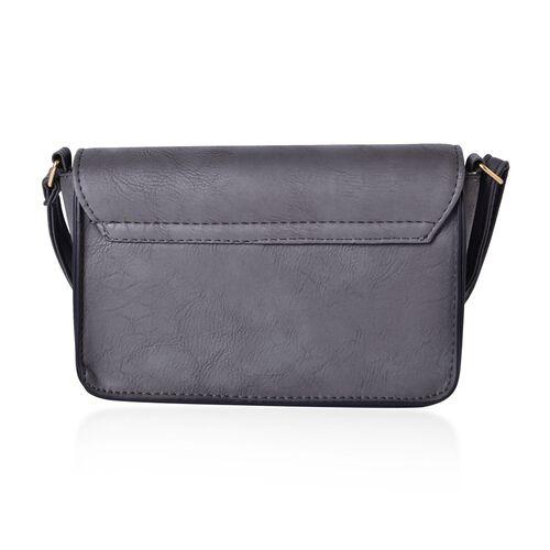 Designer Inspired-Dark Grey Colour Crossbody Bag with Adjustable Shoulder Strap (Size 20x14x6 Cm)