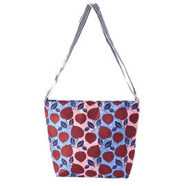 Canvas Crossbody Bag in Red and Blue Leaves Pattern with Adjustable Shoulder Strap