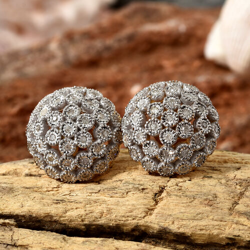 Diamond (Rnd) Dome Earrings (with Push Back) in 14K Gold Overlay Sterling Silver 0.330 Ct.