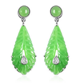 Green Jade and Natural Cambodian Zircon Leaf Design Earrings (with Push Back) in Rhodium Overlay Ste