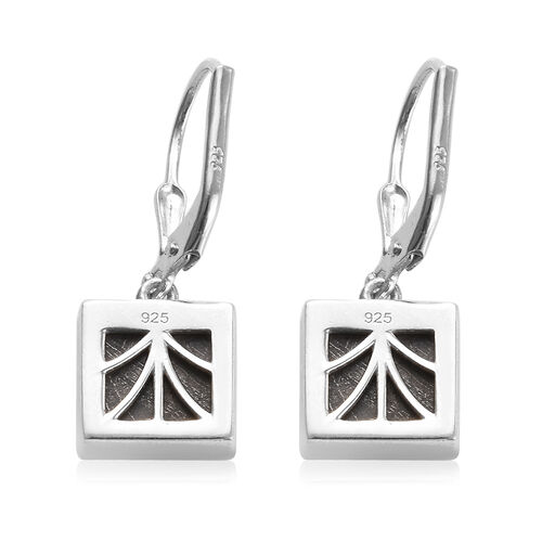 Tucson Special - Meteorite (Sqr) Drop Lever Back Earrings in Platinum Overlay Sterling Silver 12.50 Ct.