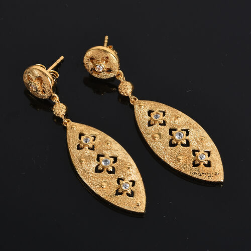 GP Natural Cambodian Zircon and Blue Sapphire Dangling Earrings (with Push Back) in 14K Gold Overlay Sterling Silver