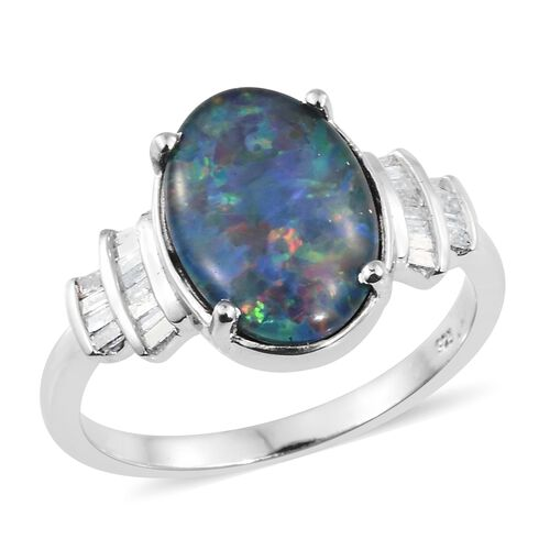Rare Size Australian Boulder Opal (Ovl 14x10 mm), Diamond Ring in Platinum Overlay Sterling Silver 3.750 Ct.