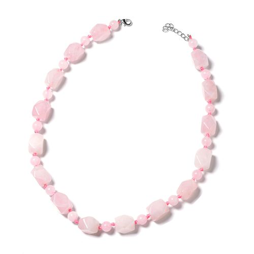 Rose Quartz  Beads Necklace (Size 18 with 1.5 Inch Extender) 428.000 Ct