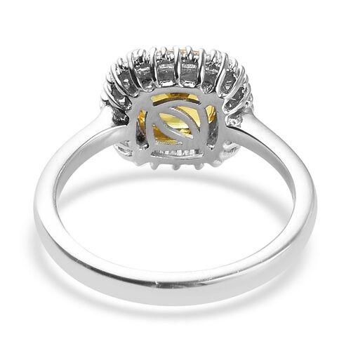 RHAPSODY 950 Platinum AAAA Loupe Clean Chanthaburi Yellow Sapphire and Diamond (VS/E-F) Halo Ring 2.00 Ct, Platinum wt. 4.62 Gms