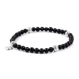 Preview Auction-RACHEL GALLEY Black Jade (Rnd) Stretchable Bracelet  in Rhodium Overlay Sterling Silver 27.00 Ct.