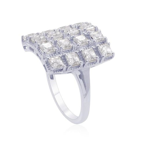 J Francis - Platinum Overlay Sterling Silver (Sqr) Ring Made with SWAROVSKI ZIRCONIA 2.880 Ct.