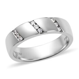 RHAPSODY 950 Platinum IGI Certified Diamond (Rnd) (VS/E-F) Band Ring 0.18 Ct, Platinum wt 9.30 Gms