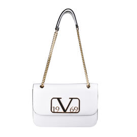 19V69 ITALIA by Alessandro Versace Shoulder Bag with Magnetic Closure (Size 24x15.5x6Cm) - White