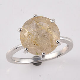 4.16 Ct Rutilated Quartz Solitaire Ring in Platinum Plated Sterling Silver