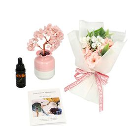 The 5th Season Gemstone Tree in Porcelain Vase with 100ml Essential Oil and Artificial Bouquet in Gi