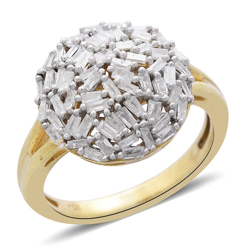 Diamond (Bgt) Cluster Ring in 14K Gold Overlay Sterling Silver 0.500 Ct.