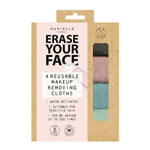 Danielle: Erase Your Face Eco Makeup Removing Cloths (4 Pack) - Grey, Light Pink, Light Green and Light Blue