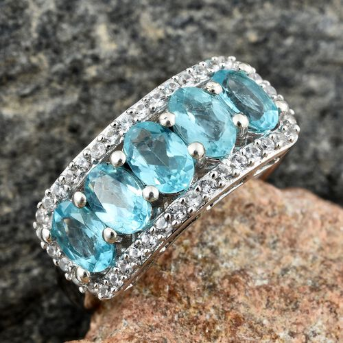 Paraiba Apatite (Ovl), Natural Cambodian Zircon Ring in Platinum Overlay Sterling Silver 2.750 Ct.