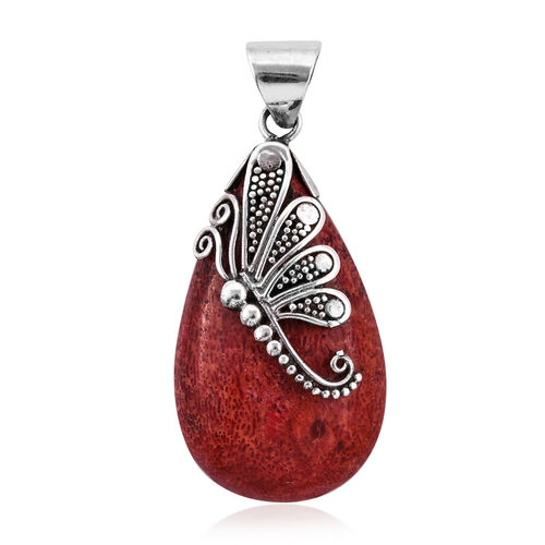 Royal Bali Collection Sponge Coral Drop Pendant in Sterling Silver
