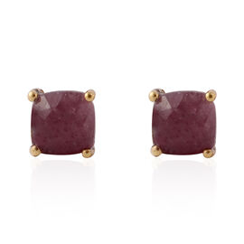 Enhanced Ruby (Cush) Stud Earrings in Yellow Gold Overlay Sterling Silver 3.200 Ct.