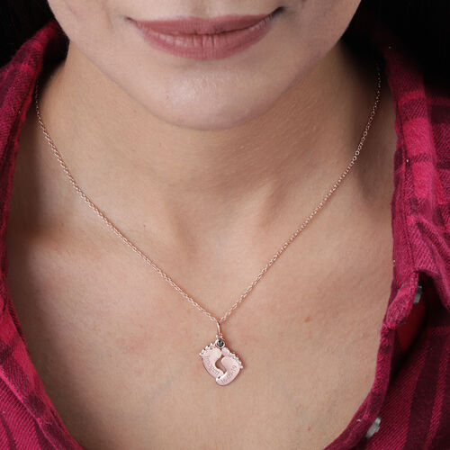 Personalise Engraved Baby Feet Necklace with Birthstone in Silver
