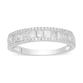 9K White Gold SGL Certified Diamond (I3/G-H) Half Eternity Ring 1.00 Ct.