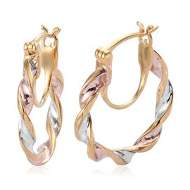 Designer Inspired- Tri Colour Platinum Overlay Twisted Hoop Earrings (with Clasp Lock) in Sterling S