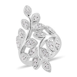 J Francis - Sterling Silver (Rnd) Bypass Leaf Ring Made With SWAROVSKI ZIRCONIA, Silver wt 6.40 Gms