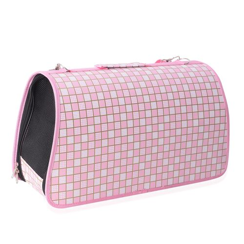 White and Pink Colour Checkable Pattern Pet Carrier with Zipper (Size 45x28x20 Cm), Unfoldable Size (93x48 Cm) and Belt (Size 100 Cm)
