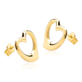 9K Yellow Gold Open Heart Stud Earrings (with Push Back)