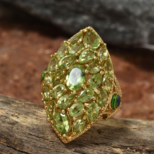 Hebei Peridot (6.00 Ct) 14K Gold Overlay Sterling Silver Ring  6.000  Ct.