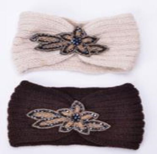 Brown and Cream Colour Beads Floral Pattern Hairbands (Size 10x22 Cm)