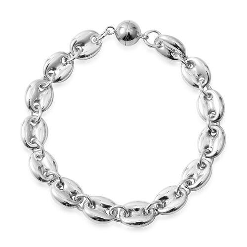 Designer Inspired-Rhodium Overlay Sterling Silver Mariner Bracelet (Size 7 - 7.5) with Magnetic Lock Silver wt 10.22 Gms.