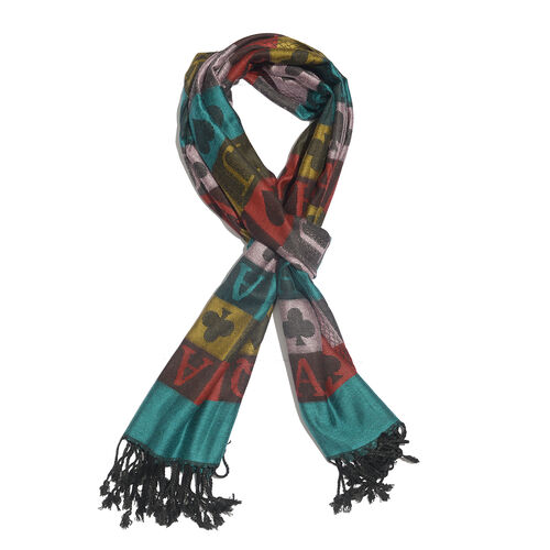 Turquoise and Multi Colour Playing Card Pattern Scarf (180x70 Cm)