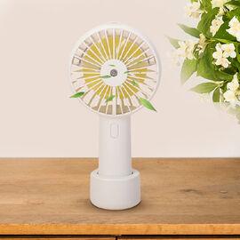 2 in 1 Mist Spray Fan with Detachable Base (Size 19.7x10.5x4.3cm) - White