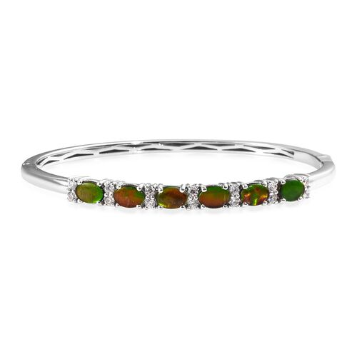 5.50 Ct Canadian Ammolite and Zircon Bangle in Platinum Plated Sterling Silver 16.04 Grams 7.5 Inch