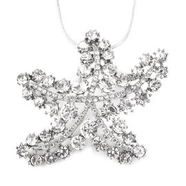 White Austrian Crystal Starfish Pendant with Chain in Silver Tone