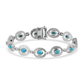 Arizona Sleeping Beauty Turquoise Bracelet (Size - 7) with Clasp in Platinum Overlay Sterling Silver