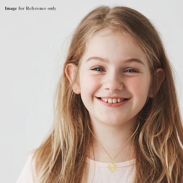Children Diamond Cut O Initial Heart Pendant in 9K Yellow Gold