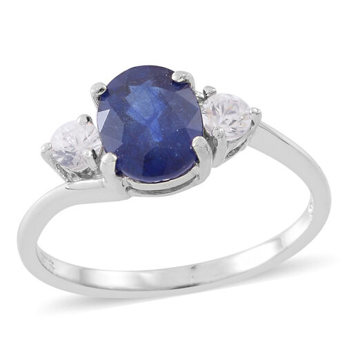 Masoala Sapphire (Ovl 2.75 Ct), Natural White Cambodian Zircon Ring in Rhodium Plated Sterling Silver 3.250 Ct.