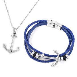 One Time Deal - Limited Available- Set of 2 Faux Leather Bracelet (Size 8) and Anchor Pendant With Chain (Size 24) in Stainless Steel