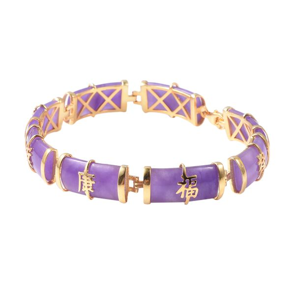 Purple Jade (Bgt) Bracelet (Size 7.5) in Yellow Gold Overlay Sterling Silver 51.250 Ct., Silver Wt. 9.40 Gms