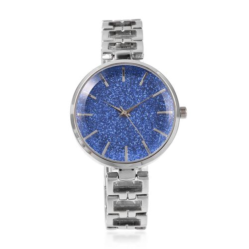 STRADA Stellar Japanese Movement Water Resistant Blue Stardust Metal Bracelet Watch in Stainless Ste