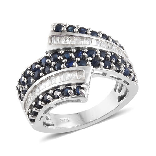 2.25 Ct Kanchanaburi Blue Sapphire and Diamond Cross Over Ring in Platinum Plated Silver 6.13 Grams