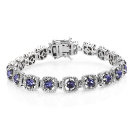 J Francis - Crystal from Swarovski Tanzanite Colour Crystal (Rnd) Bracelet (Size 7.5) in Platinum Pl