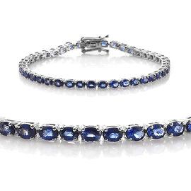 9K White Gold AAA Royal Ceylon Sapphire (Ovl) Bracelet (Size 7) 9.000 Ct.