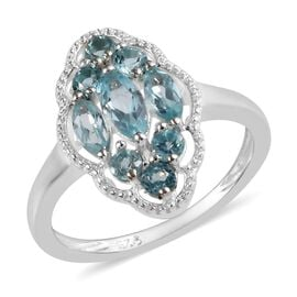 Paraibe Apatite (Mrq and Rnd) Cluster Ring (Size K) in Sterling Silver 1.00 Ct.