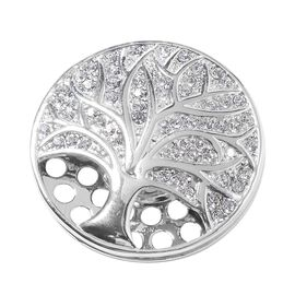 Tree of Life Design White Austrian Crystal Magnetic Brooch in Silver Plated
