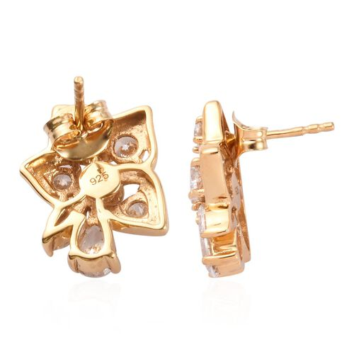 J Francis 14K Gold Overlay Sterling Silver Made with SWAROVSKI ZIRCONIA Floral Stud Earrings (with Push Back) 2.50 Ct.